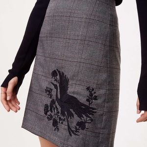 Loft Plaid Embroidered Black Bird Skirt Size 10